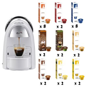 PACK CAFFITALY CAPSULEMACHINE AMBRA WIT + 300 CAPSULES NAAR KEUZE